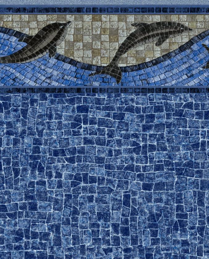 Dolphin Sighting Tile Indigo Wave Bottom Liner